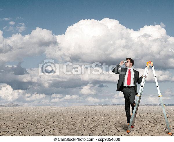 uomo affari, ricerca, affari - csp9854608