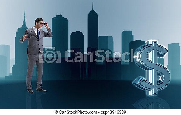 uomo affari, ricerca, dollaro - csp43916339