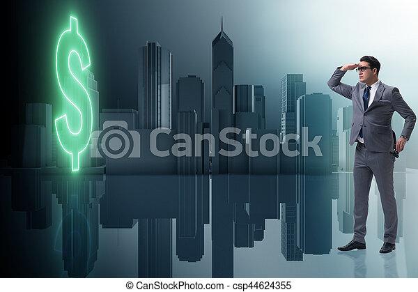uomo affari, ricerca, dollaro - csp44624355