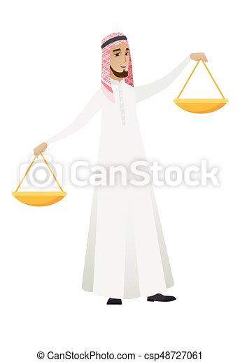 uomo affari, scale., equilibrio, presa a terra, musulmano - csp48727061