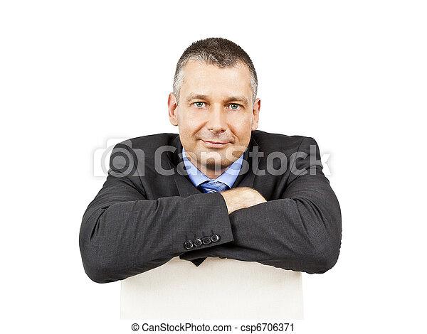 uomo, affari, seduta - csp6706371