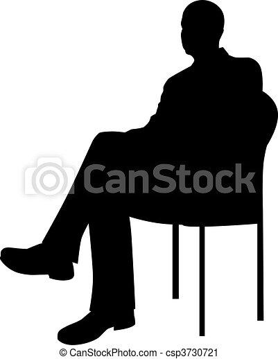 uomo affari, seduta - csp3730721