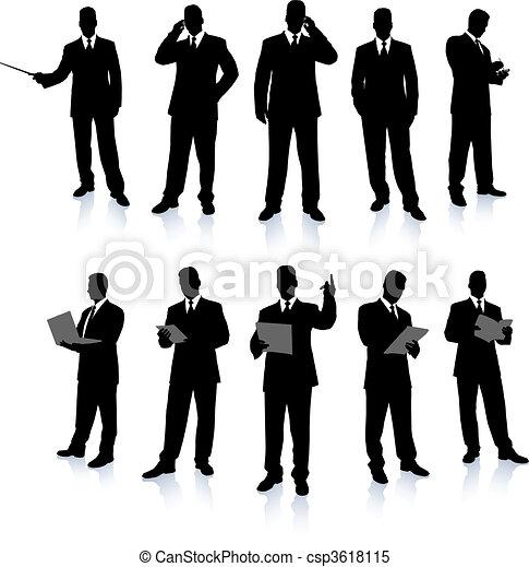 uomo affari, silhouette, collezione - csp3618115