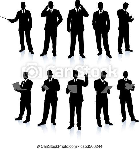 uomo affari, silhouette, collezione - csp3500244