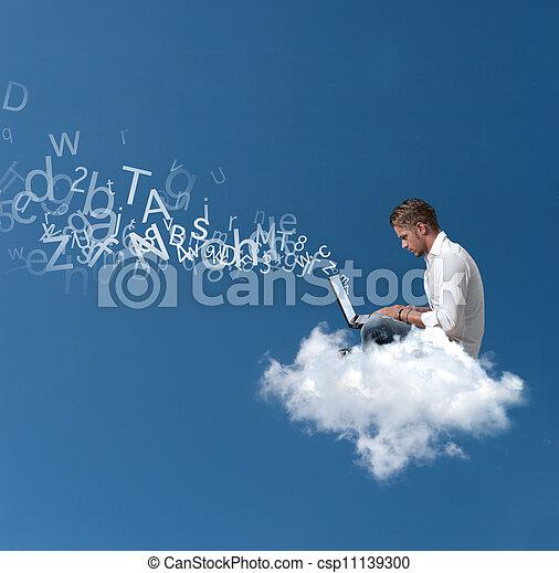 uomo affari, sopra, lavori in corso, nuvola - csp11139300