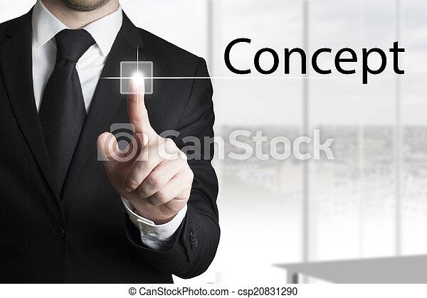 uomo affari, touchscreen, concetto, urgente - csp20831290