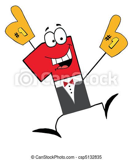 uomo affari, uno, cartone animato, numero - csp5132835