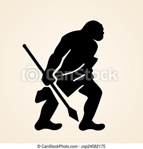 uomo caverna caverna lancia uomo illustrazione
