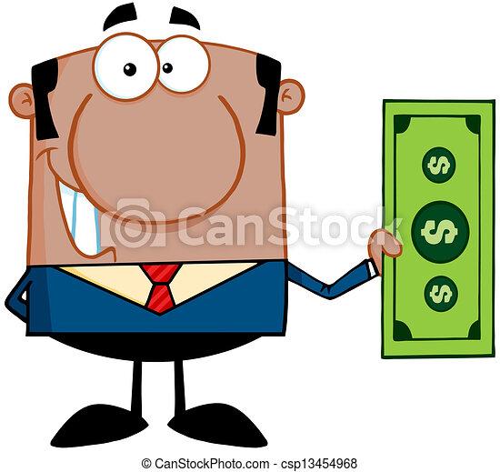 uomo, conto, dollaro, presa a terra, africano - csp13454968