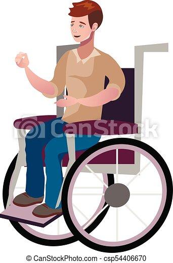uomo disabled, giovane, wheelchair. - csp54406670
