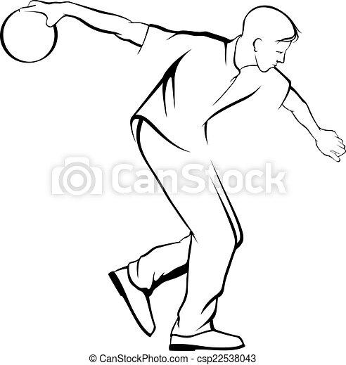 uomo, giovane, bowling - csp22538043