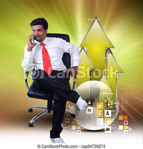 uomo, grafico, crescita, affari, seduta - csp24739274