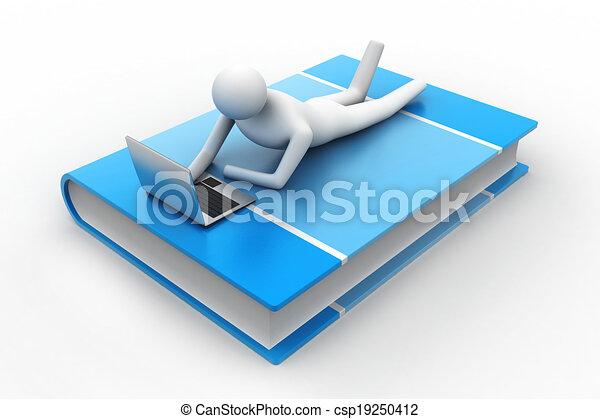 uomo, laptop, libro, dire bugie, 3d - csp19250412