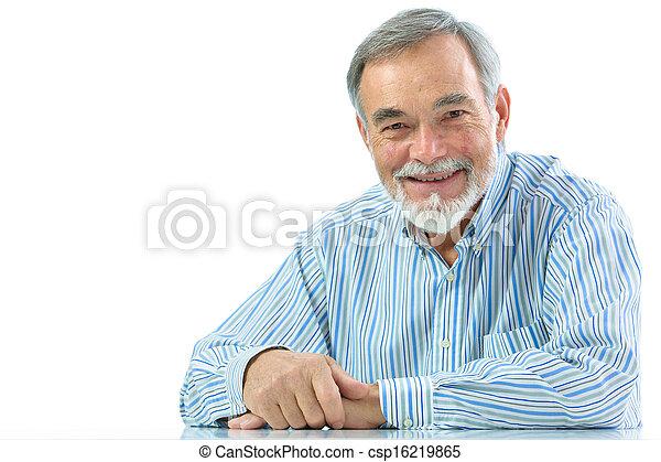 uomo, ritratto, anziano, sorridere felice - csp16219865