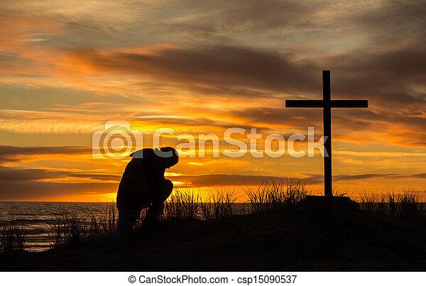 uomo, tramonto, preghiera - csp15090537