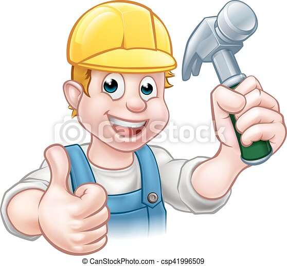 uomo tuttofare, carattere, carpentiere, presa a terra, martello, cartone animato - csp41996509