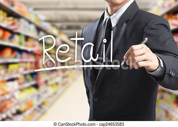 uomo, vendita dettaglio, parola, affari, scrittura - csp24653583