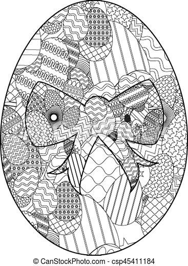 uovo di pasqua, zentangle - csp45411184