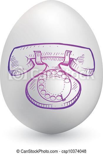 uovo, pasqua, retro, telefono - csp10374048