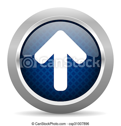 up arrow blue circle glossy web icon on white background, round button for internet and mobile app - csp31007896