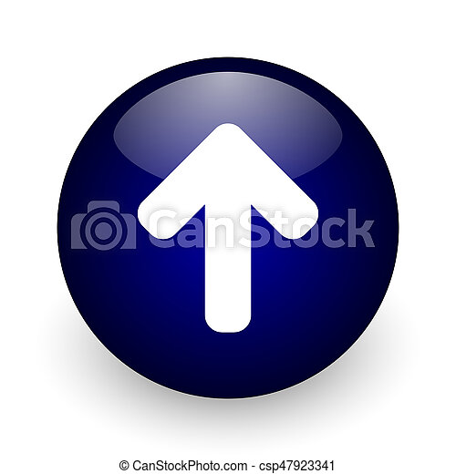 Up arrow blue glossy ball web icon on white background. Round 3d render button. - csp47923341
