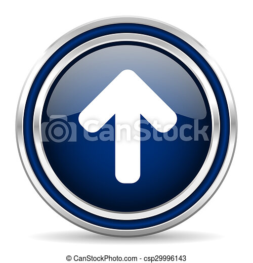 up arrow blue glossy web icon - csp29996143