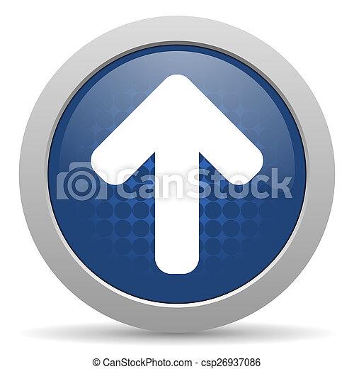 up arrow blue glossy web icon - csp26937086