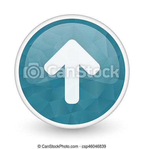Up arrow brillant crystal design round blue web icon. - csp46046839