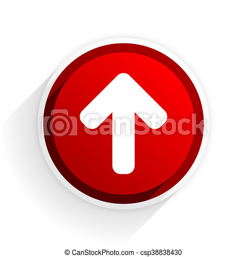 up arrow flat icon with shadow on white background, red modern design web element - csp38838430