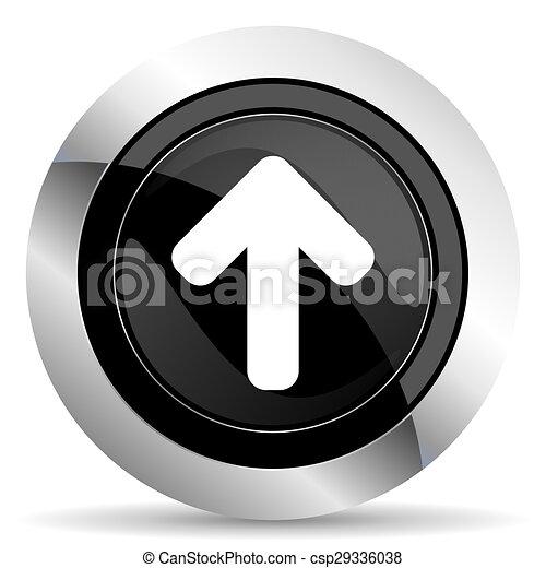up arrow icon, black chrome button, arrow sign - csp29336038