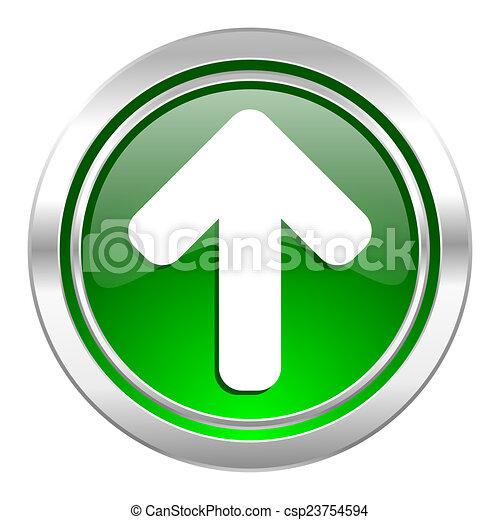 up arrow icon, green button, arrow sign - csp23754594