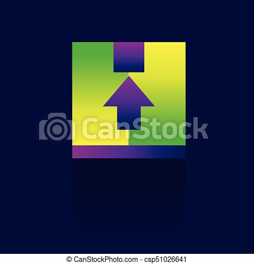 Up Arrow Square Icon On Blue Background Vector Illustration Logo