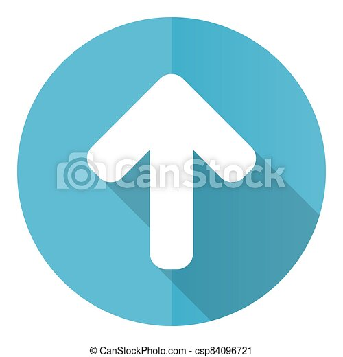 Up arrow vector icon, upload flat design blue round web button isolated on white background - csp84096721