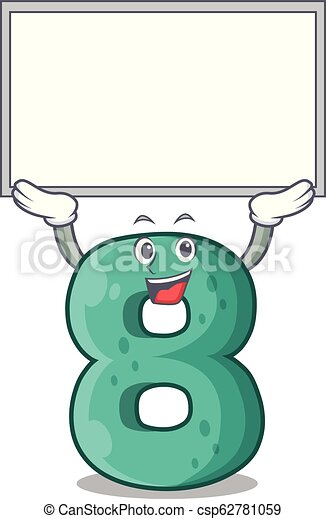Up board raster version cartoon shaped Number Eight - csp62781059