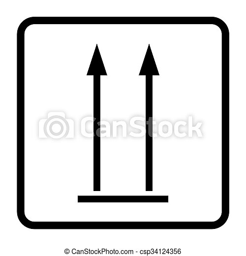 This Side Up Sign Icon Fragile Package Symbol Arrows Sign Black