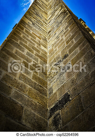 up view of the historic stone wall - csp52264596