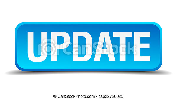 Update blue 3d realistic square isolated button - csp22720025