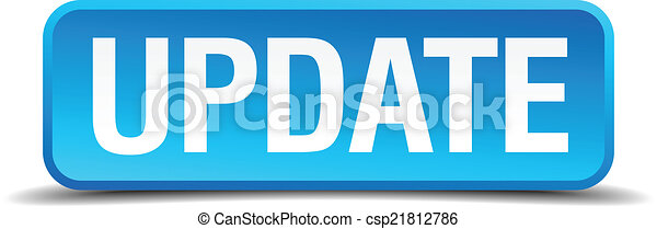 Update blue 3d realistic square isolated button - csp21812786