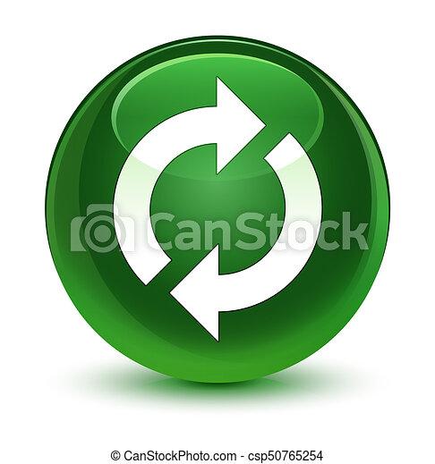 Update icon glassy soft green round button - csp50765254