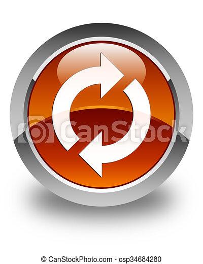 Update icon glossy brown round button - csp34684280
