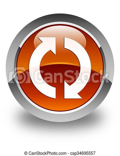 Update icon glossy brown round button - csp34695557