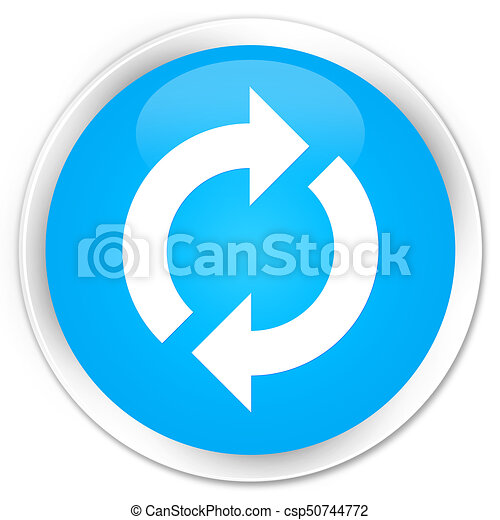 Update icon premium cyan blue round button - csp50744772