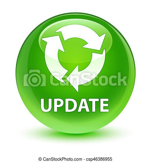Update (refresh icon) glassy green round button - csp46386955