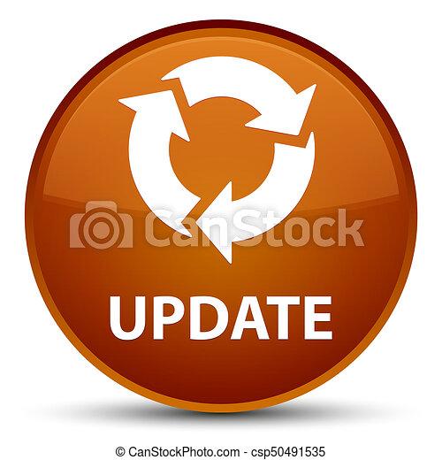Update (refresh icon) special brown round button - csp50491535