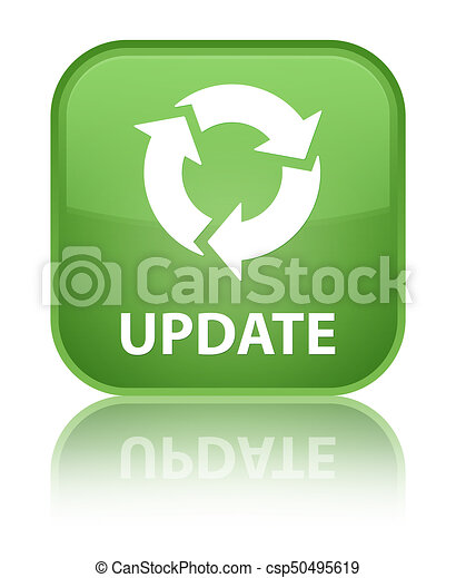 Update (refresh icon) special soft green square button - csp50495619