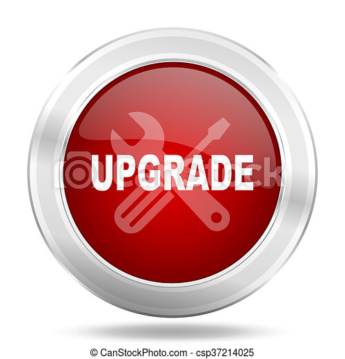 Upgrade Icon Red Round Glossy Metallic Button Web And Mobile App Design Illustration