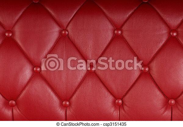 upholstery, genuíno, couro, textura, fundo, vermelho - csp3151435