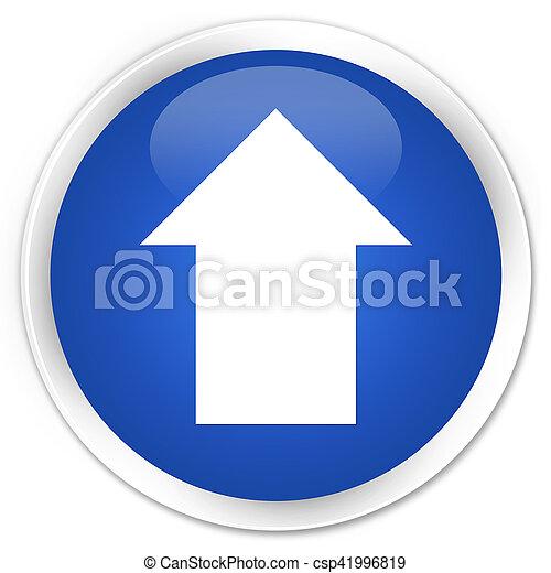 Upload arrow icon blue glossy round button - csp41996819