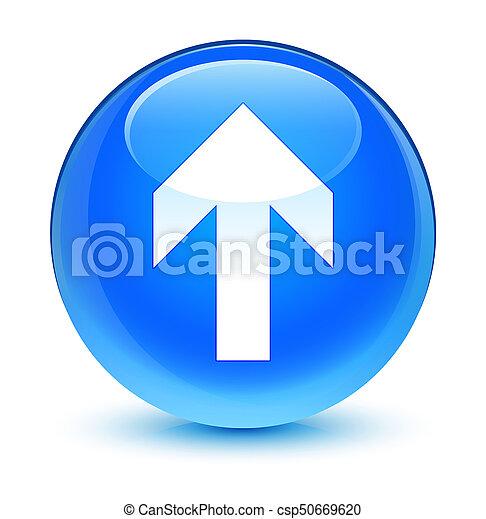 Upload arrow icon glassy cyan blue round button - csp50669620
