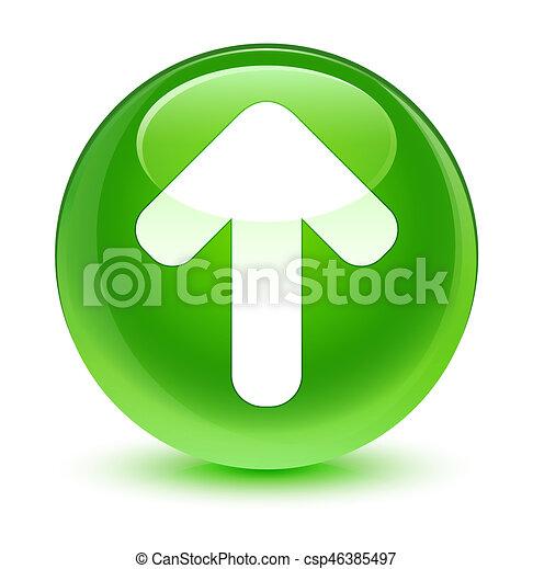 Upload arrow icon glassy green round button - csp46385497